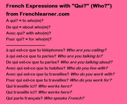 French Expressions with Qui (Who?)