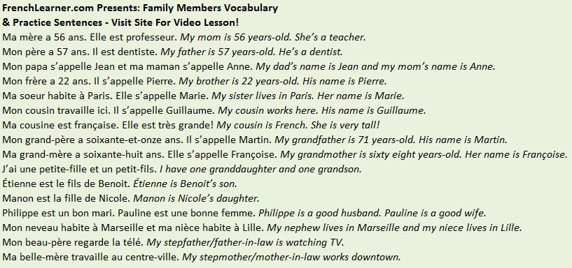 french family members vocabulary phrases. Black Bedroom Furniture Sets. Home Design Ideas