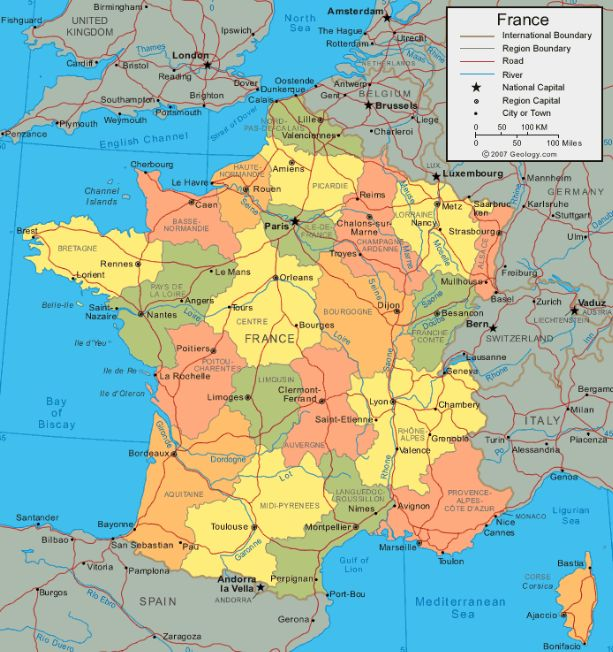 Map of France - Cities