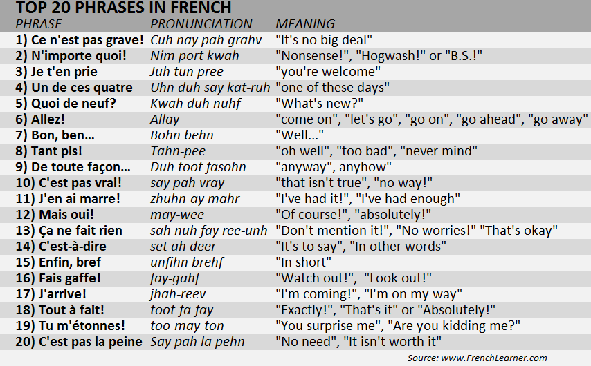 Top 20 Phrases In French