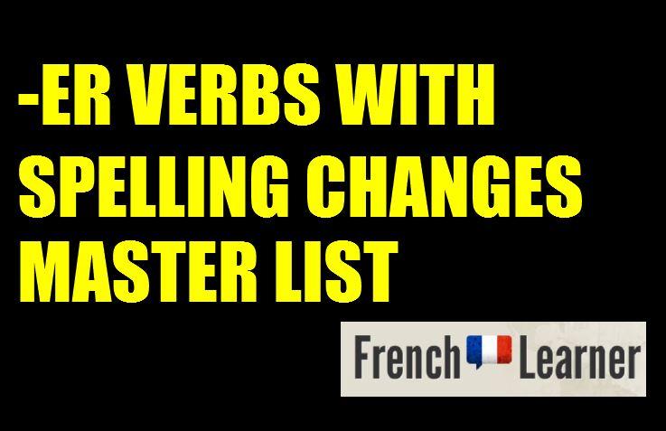 French ER verbs spelling stem changes