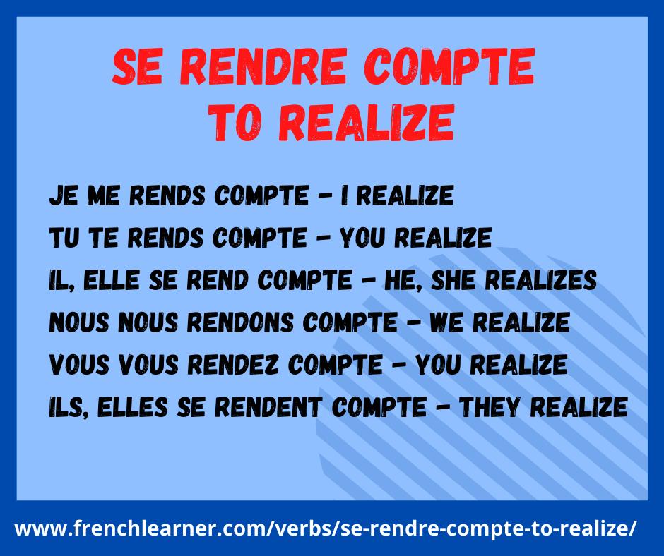 Se Rendre Compte To Realize Conjugation