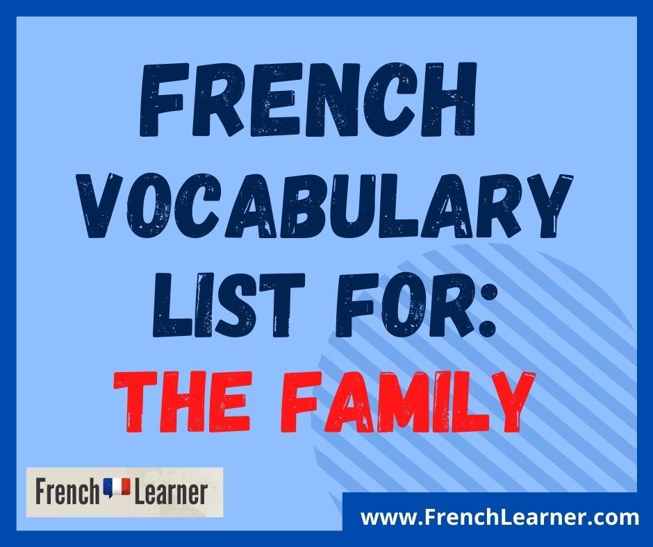 French family vocabulary